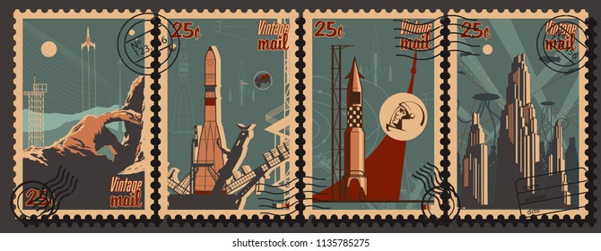 Vector Vintage Space and Science Propaganda Postage Stamps