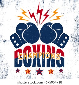 Vector vintage sport logo for boxing with gloves and stars. Boxing champions poster