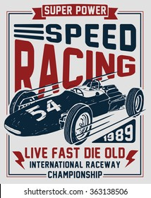 Vector vintage sport racing car, T-shirt Graphics, Vintage typography