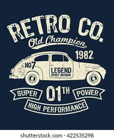 Vector vintage sport racing car, T-shirt Graphics, Retro typography