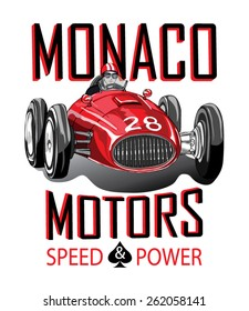 Vector vintage sport racing car.T-shirt Graphics.Monaco Race