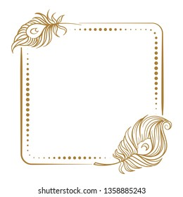 Vector vintage square frame with peacock feathers decoration