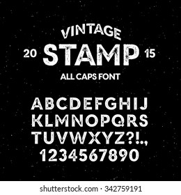 Vector vintage stamp all caps font. High quality design element.