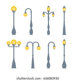 Vector vintage streetlights on white background. Outdoor retro lamp.
