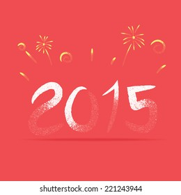 Vector : Vintage style of  2015 Number with fire work, Happy New Year