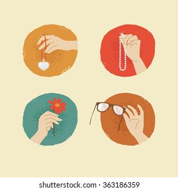 vector vintage style female hands with silver locket, glasses, flower and pearl necklace