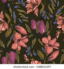 vector vintage style floral seamless pattern with fruits and blooms on a dark brown background