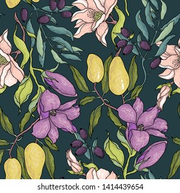vector vintage style floral seamless pattern with fruits and blooms on a dark background