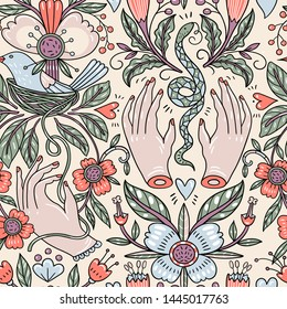 vector vintage style floral seamless pattern with female hands, nests and snakes