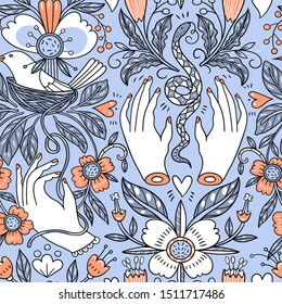 vector vintage style floral  seamless pattern with female hands, nests, snakes and fantasy flowers