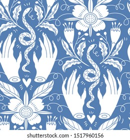 vector vintage style floral seamless pattern with silhouette hands and snakes