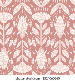 vector vintage style floral seamless pattern with silhouette blooms and bugs