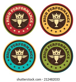 Vector : Vintage Style High Performance Icon, Badge, Sticker or Label Isolated on White Background