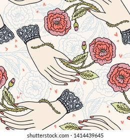 vector vintage style seamless pattern with beautiful female hands holding blooming roses