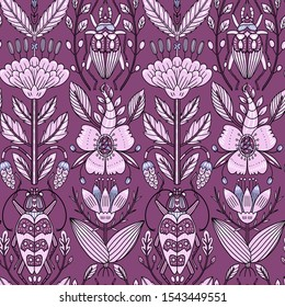 vector vintage style seamless pattern with detailed hand drawn roses and insects on a violet background