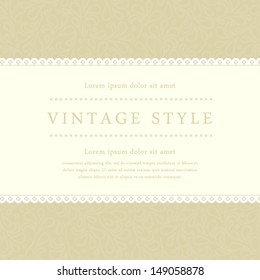 Vector vintage styled card with floral ornament design. Perfect as invitation or announcement.