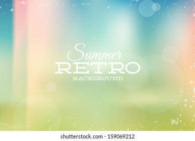 Vector vintage summer blurry unfocused background with light leaks
