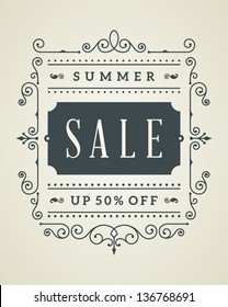 Vector vintage summer sale sign and antique frame