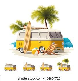 Vector vintage surfers van icon set