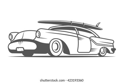 Vector vintage surfing car. Surf auto on white background.