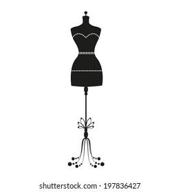 vector vintage tailor's mannequin for female body