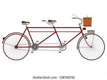 Vector vintage tandem bicycle.