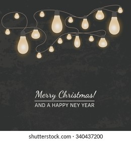 Vector vintage textured retro Christmas and New Year poster/web banner with lights on dark background