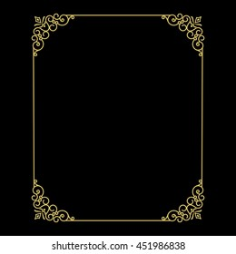 Vector vintage thin gold frame for your design. Vintage cover. Place for text.