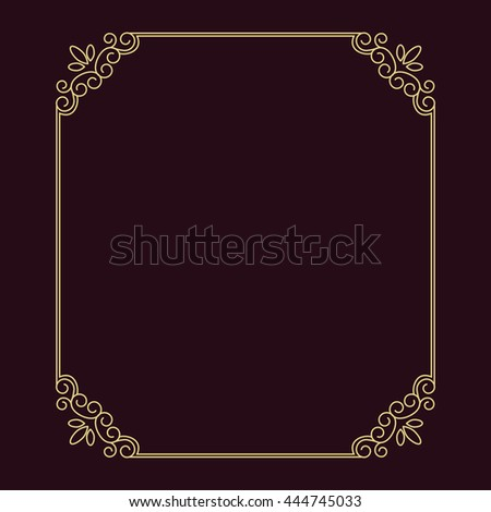 90130ba99ae0 Vector vintage thin gold frame for your design. Vintage cover. Place for  text.
