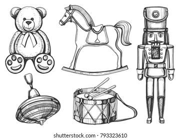 Vector vintage toys set: bear, rocking horse, nutcracker, drum, yule. Vintage hand drawn style.