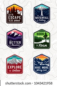 Vector vintage travel patch set.