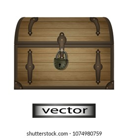 Vector, vintage treasure Chest, pirate is closed on the lock, a chest of wood covered with iron . 3D, grid, realistic illustrations.
