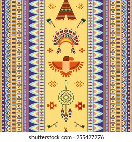 Vector vintage tribal ethnic seamless pattern for business. Pipe of peace, Indian housing