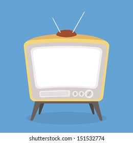 vector vintage tv brown color isolated
