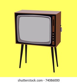 vector vintage tv set