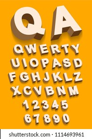 Vector of Vintage type alphabet with 3d threedimentional effect and shadow with flast colors ready to be applied on every surface.