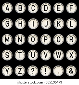 Vector vintage typewriter buttons - alphabet. Isolated on black background. Letter/key of old typewriter. Eps 10.
