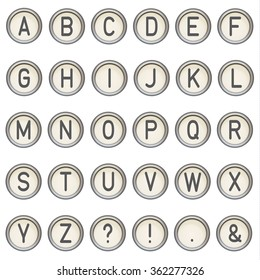 Vector vintage typewriter buttons - alphabet. Isolated on white background. Letter/key of old typewriter. Eps 10.