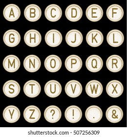 Vector vintage typewriter buttons - alphabet. Isolated on black background. Letter/key of old typewriter. Gold. Eps 10.