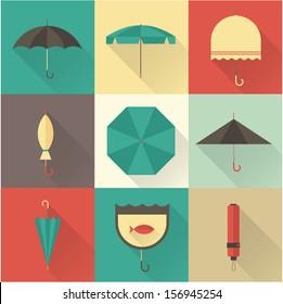 Vector vintage umbrellas