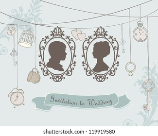 Vector Vintage  Wedding Invitation Card. Retro silhouettes