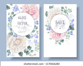Vector vintage wedding invitation cards with garden roses and sweet pea flowers on white. Save the date floral design for wedding ceremony. Can be used as birthday greeting card