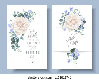 Vector vintage wedding invitation cards with white garden roses and sweet pea flowers on white. Save the date floral design for wedding seremony. Can be used as birthday greeting card