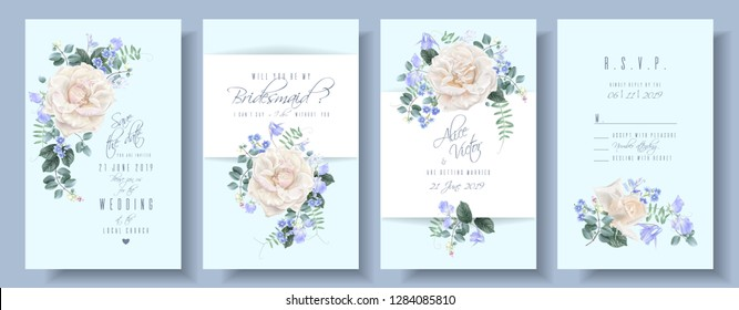 Vector vintage wedding invitation cards with white garden roses and blue flowers. Save the date, R.S.V.P, and bridesmaid floral design for wedding seremony. Can be used as birthday greeting card