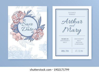 Vector vintage wedding invitation with several big buds of blooming pink peonies in pastel colors.Card with floral elements and round frame with decorative text. Flowers with a dark blue outline.