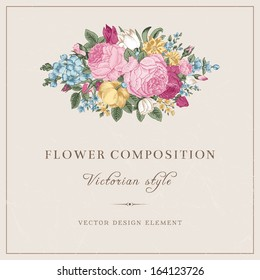 Vector vintage wedding postcard in Victorian style. Composition of colorful flowers on a gray background. Roses, tulips, delphinium. Design element.