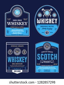Vector vintage whiskey and scotch whisky labels. Distilling business branding and identity design elements.