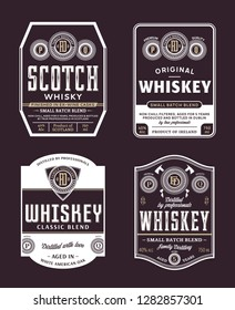 Vector vintage whiskey and scotch whisky white and gold labels. Distilling business branding and identity design elements.