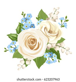 Vector vintage white and blue roses, lisianthuses, lily of the valley and forget-me-not flowers isolated on a white background.