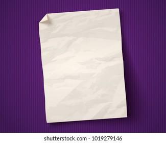 Vector vintage white paper on ultraviolet background. White paper ad on old paper background.